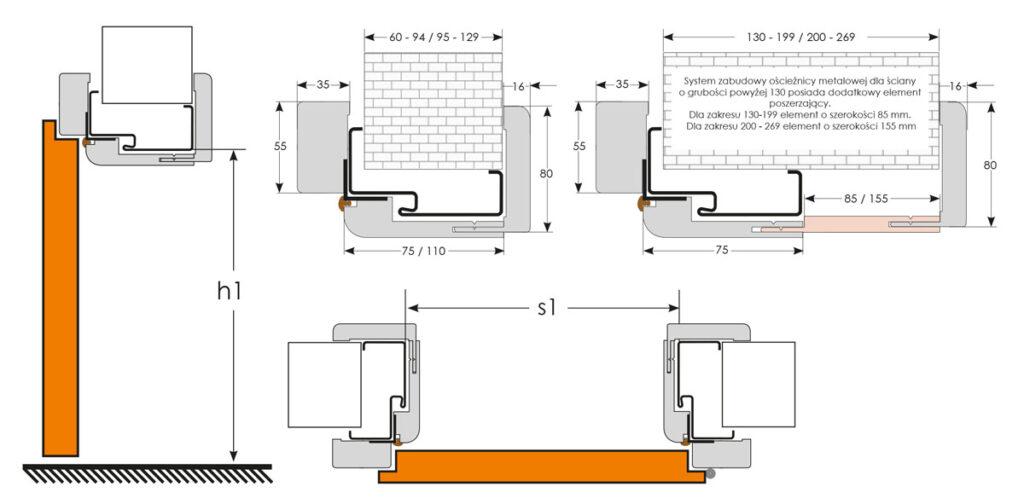 Rysunki wymiarowe - zabudowa do ościeżnicy metalowej