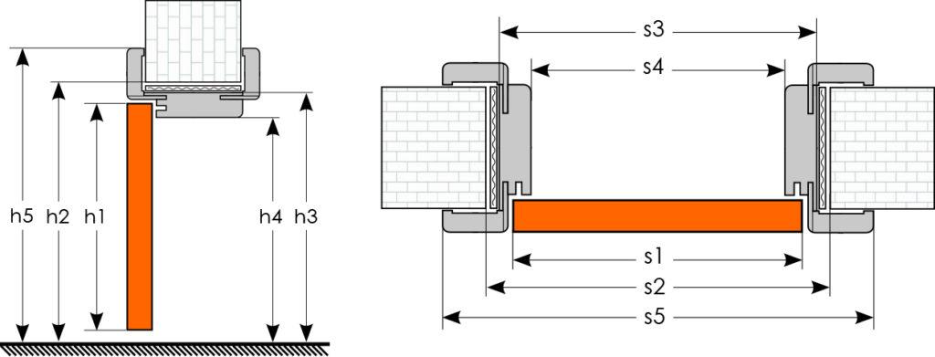 Wymiary ościeżnicy regulowanej do drzwi modułowych bezprzylgowych - rysunek