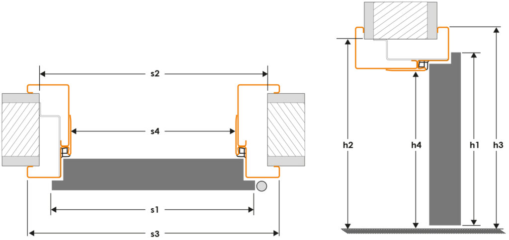 Rysunek wymiarowy ościeznicy metalowej - regulowanej FD61 - 67
