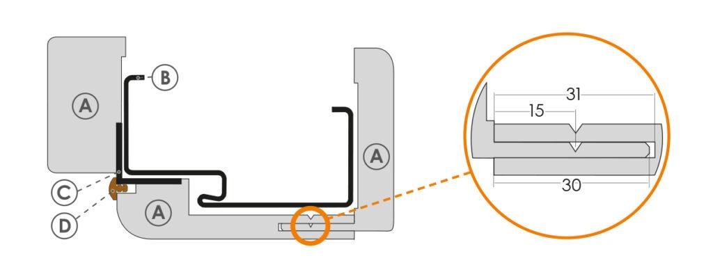 Schemat zabudowy ościeżnicy metalowej - elementy